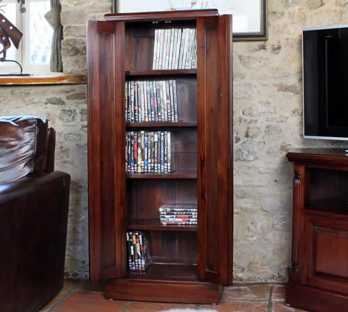 Mahogany CD & DVD Storage Cupboard