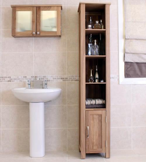 tall oak bathroom unit