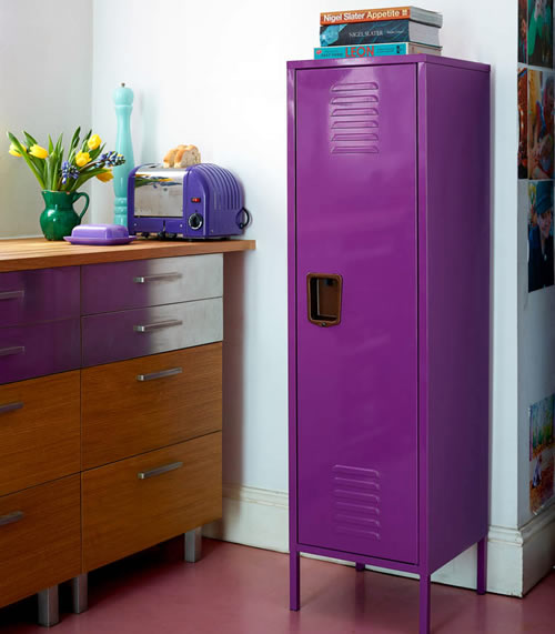 American college style lockers to add a pop of colour in the kitchen