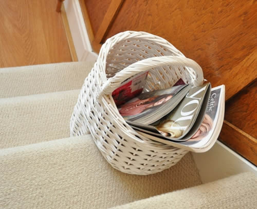White Wicker Stairway Basket
