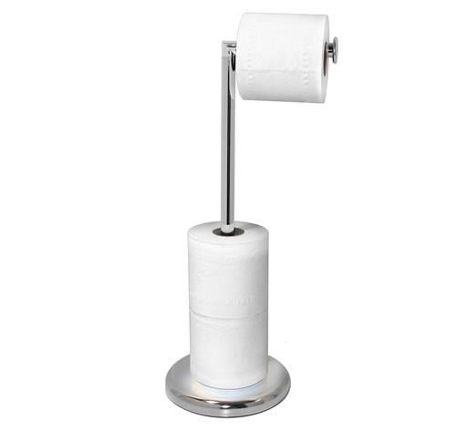 Chromed Freestanding Loo Roll Store & Stand