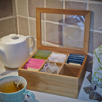 Wooden Teabag Storage Box