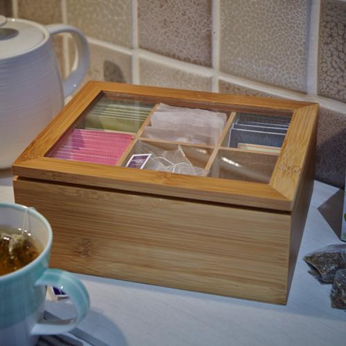 Wood and Glass Teabag Box