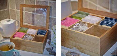 Divided teabag storage box