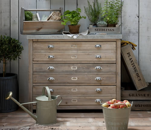 3 Drawer Architects Storage Cabinet chest of drawers - Garden Trading