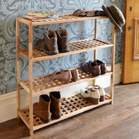 4 Tier Walnut Wooden Shoe Rack