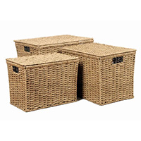 Set of 3 Seagrass Boxes with Lid