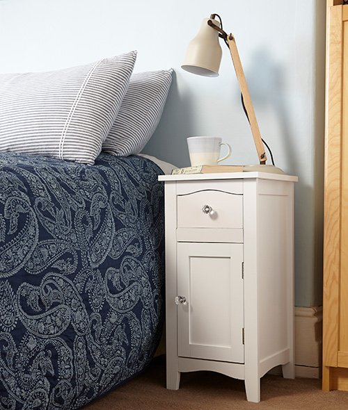 White Bedside Cabinet with Drawer