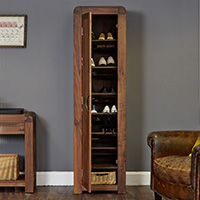 Solid Walnut Tall Shoe Cupboard - Shiro