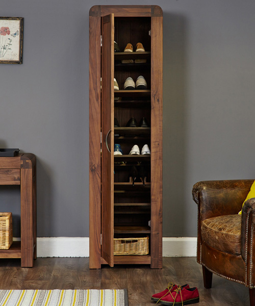 Solid Walnut Tall Shoe Cupboard Shiro Shoe Cupboards