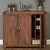 Solid Walnut XL Shoe Cupboard - Shiro