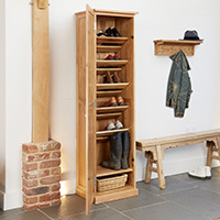 Oak Tall Shoe Cupboard - Mobel