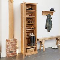 Oak Tall Shoe Cupboard - Mobel