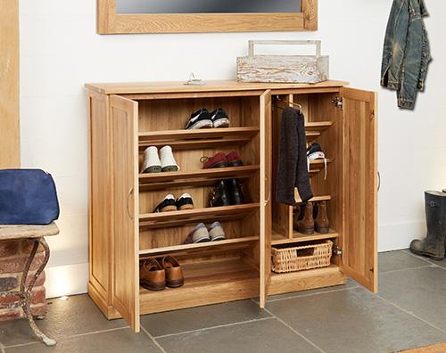 Large Oak Shoe Storage Unit