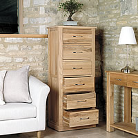 6 Drawer Oak Unit - Mobel
