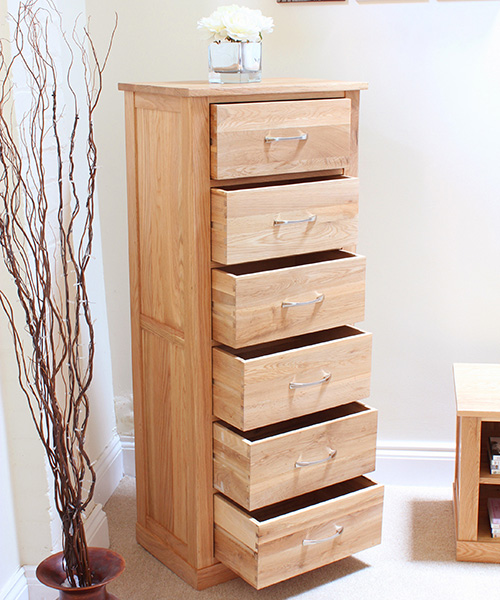 6 Drawer Oak Unit