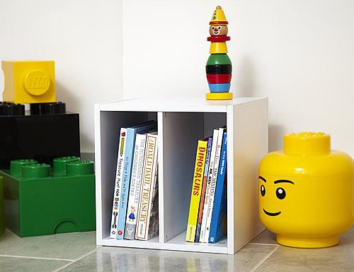 Lazzari style white wooden modular storage cube