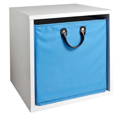Storage basket and white wood modular cube
