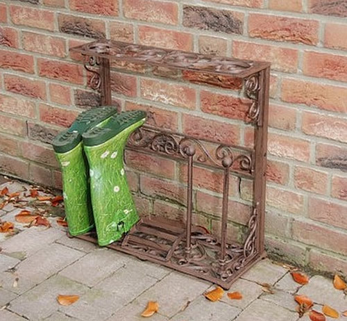 Wrought iron wellington boot stand