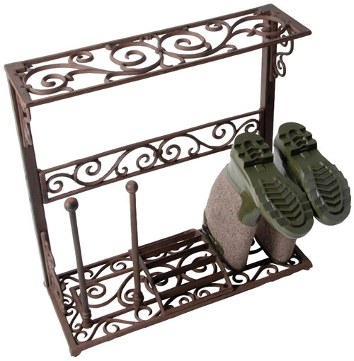 Wrought iron boot stand