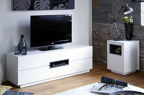 Contemporary White TV /Media Unit - Low