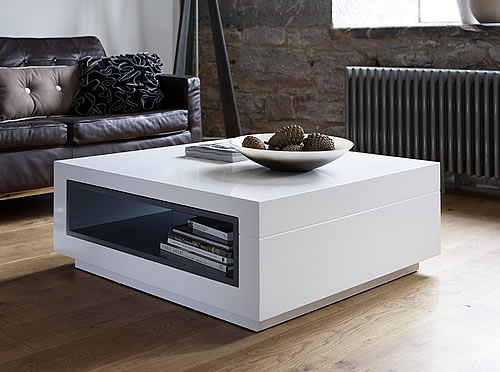 Store Contemporary White Square Coffee Table