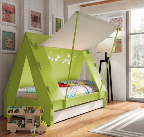 kids themed bed in shape of a tent with extra storage below / truckle-bed for sleepovers