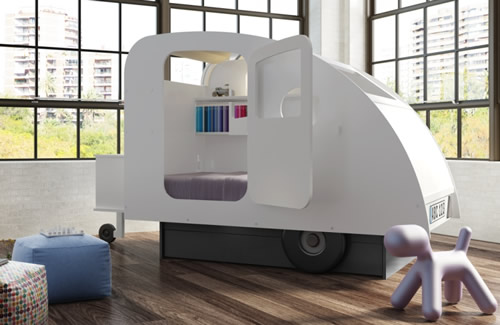 Caravan shaped childs bed designed by Francois Lamazerolles with hidden shelving and storage