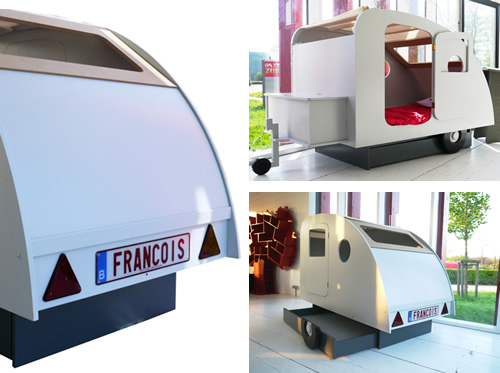Caravan shaped bed with storage drawer and chest