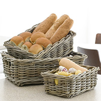 Set of 4 Buff Wicker Pantry Baskets