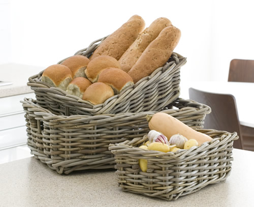 Buff wicker pantry baskets