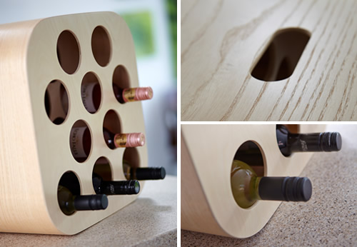 Handmade ash wine rack - Nello