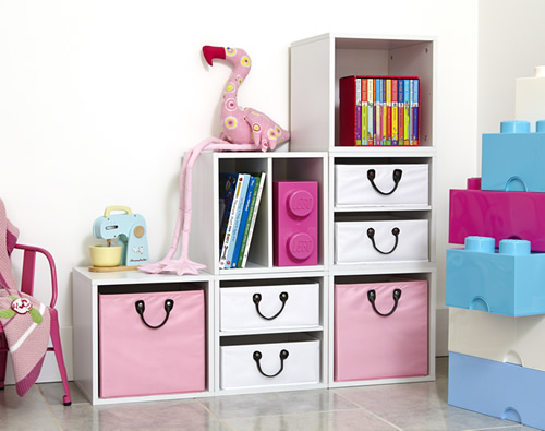 White wood modular storage cubes with baskets