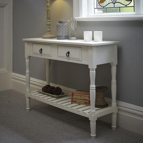 Classic antique cream wood console table