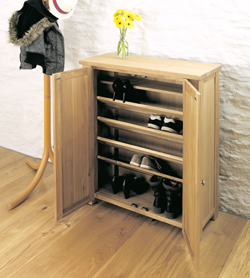 Solid oak shoe cupboard