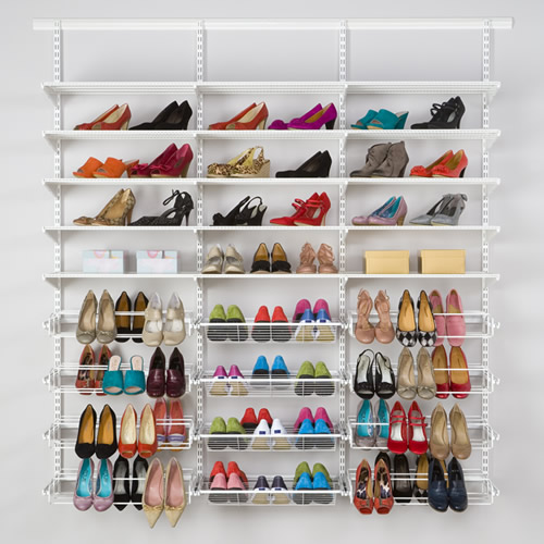 classic elfa shelving shoe storage solution