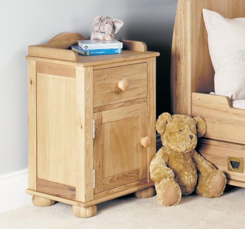 Solid oak one drawer childrens bedside cabinet