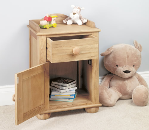 Solid oak one drawer and one door kids bedside cabinet