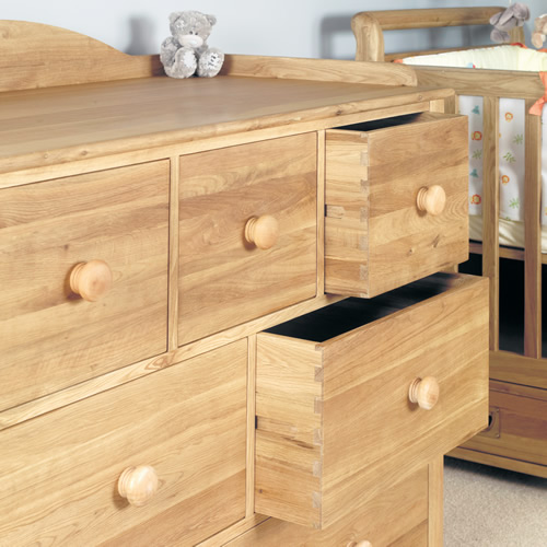 Solid oak chest of drawers and baby changing unit