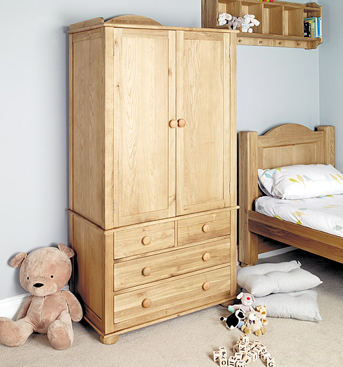 Solid oak double kids wardrobe - Amelie