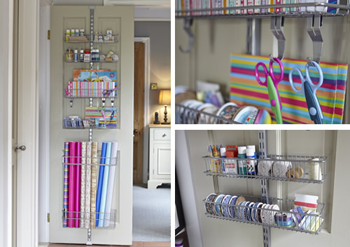 Over door gift wrap store elfa home storage systems for Craft wall storage system