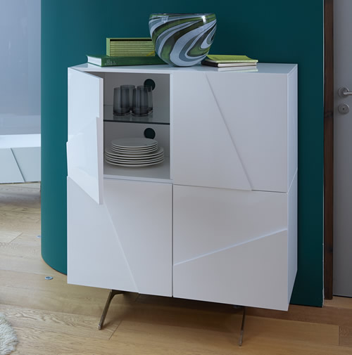 contemporary sideboard in white high gloss finish