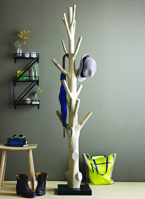 Coat rack crafted from the Mangosteen tree