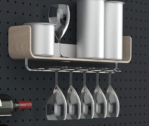 Ashwood wine glass storage rack and shelf