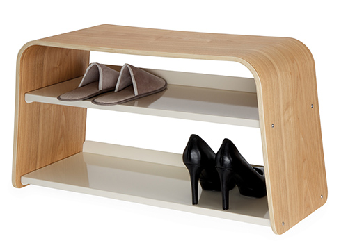 Ashwood shoe bench designed by Sebastian Conran