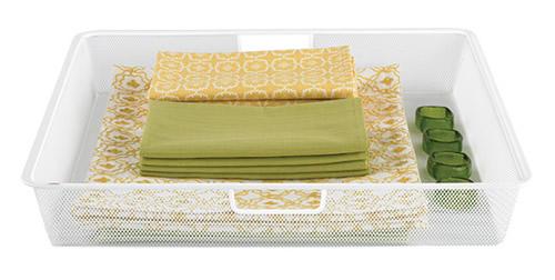 white elfa mesh basket 55cm wide x 55cm deep