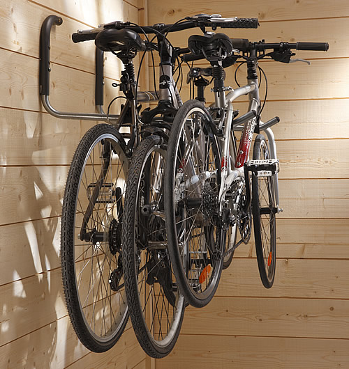 Set of 2 wall mounted swivelling storage hooks for bike storage