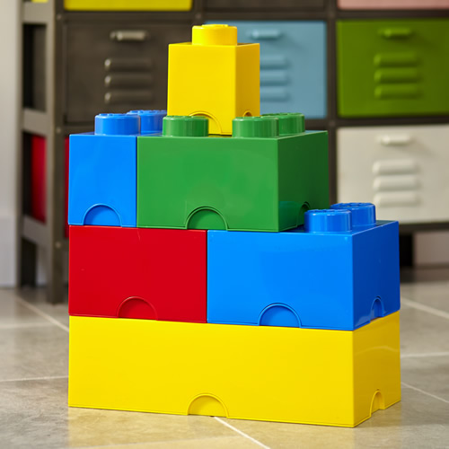 Lego storage block bundle in traditional LEGO colours