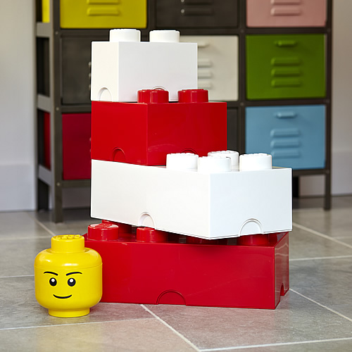 Red and white giant LEGO storage blocks