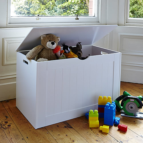 White wooden toy storage box